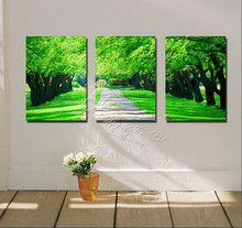 3 Panels Modern Wall Paintinggreen trees art  canvas wall picture Home Decorative Art Picture oil  Painting