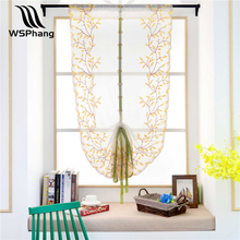 WSPhang 1pcs New Roman Curtains Tulle Pastoral Willow Leaves Voile Panel Kitchen Window Curtains Livingroom Bedroom Curtain
