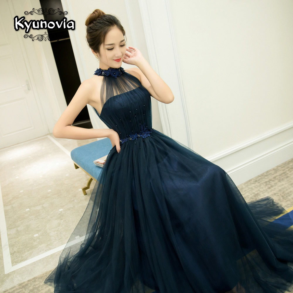 Floor Length Halter Dress Beaded Long Prom Dress Blue Champagne Sleeveless Evening Dress Appliques Lace Up Prom Dresses FD28