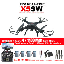 SYMA X5SW / X5SW-1 WIFI Drone Quadcopter With FPV Camera Headless 6-Axis Real Time RC Helicopter Quad copter With 5 Batteries(China)