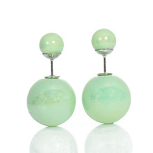Doreen Box Pearl Created Double Sided Ear Post Stud Earrings Ball Mint Green AB Color 8mm Dia. 16mm Dia.,1 Pair