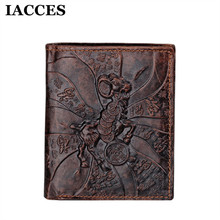 IACCES Brand New Men Goat Styles Wallet Purse Card Holder Vintage Wallets Fashion Luxury Men Cow Leather Money Bag Pocket Clutch(China)