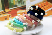 Hot sale 2017 Simple candy color Elastic Hair Tie with pearl Hair bands Rope Band Ponytail Holder hair accessories for women