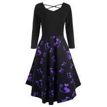CharMma 2017 New Autumn Pumpkins Cats Print Plus Size 5XL Flare Dress Women Criss-Cross V Neck Vintage Halloween Party Dress(China)