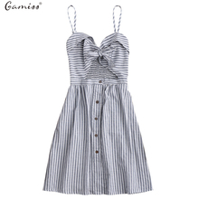Gamiss 2017 Striped Front Knot Tie Cutout Cami Dress Women Spaghetti Strap Cotton Linen Summer Sundresses Casual Beach Vestidos(China)