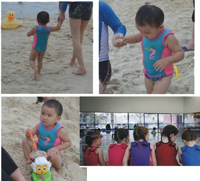 WDS-8005-6  Soles Up Front Baby Wetsuit Baby Warmer. 2mm Neoprene Wet Suit for swimming pool or beach. Opens out flat for easy fitting