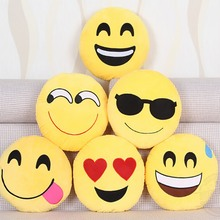 Cute Emoji Cusion Smile Emoticon Yellow Pillows Cushion Cartoon Expression Yellow Round Decorative Pillows Stuffed Plush Toy(China)