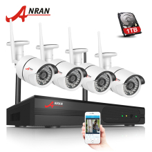 ANRAN Plug and Play 4CH CCTV System Wireless NVR Kit P2P 720P HD 36 IR Night Vision Motion Detecting WIFI IP Security Camera