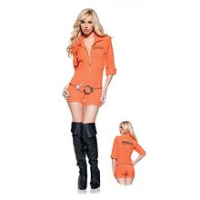 New Fashion Prisoner Costume Women Sexy Convict Orange Outfit Adult Funny Halloween  Fancy Dress
