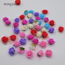 100Pcs/lot 2cm Mini Foam Rose Head Artificial Silk Flower Wedding Festive Decoration Handmade Clothing Shoe Box Accessories(China)