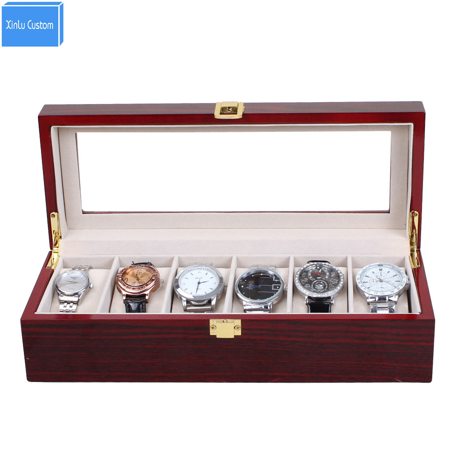 Luxury High Grade Elegant 6 Slot Glossy Lacquer Wood Display Watch Box Collection 6 Watch Case Box Holds Drop Shipping<br>