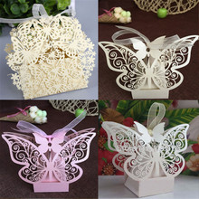 Pack of 50pcs Luxury Hollow Butterfly Laser Cut Wedding Favours Box Wedding Party Sweets Cake Candy Gift Favors Boxes