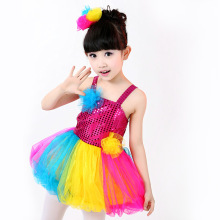 Children's Day Colorful Fairy Tutu Dress Lovely Candy Color Shiny Sequined Baby Girl Dance Costume Modern Dance Performance Wear(China)