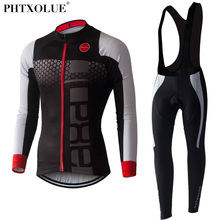 PHTXOLUE Long Sleeve Cycling Set 2017 Mtb Jersey Bike Wear Clothes Ropa Ciclismo Winter Thermal Fleece Cycling Clothing Men(China)