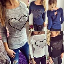 Autumn Women Casual Long Sleeved Knitted Sweater Heart Love Rhinestone Pattern Crochet Pullover Jersey Jumper Slim Fit Ladies