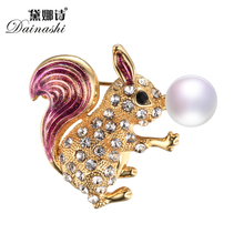 Autumn New Arrival Vintage Squirrel Brooch Pins,Colorful Genuine Pearl Brooches For Women, Fine Animal Brooches Jewelry Gifts(China)