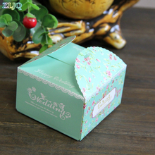 50 100pcs/lot Romantic Wedding Favor Blue Red Pink Paper Candy Box DIY Candy Cookie Gift Boxes Wedding Birthday Party Supplies(China)