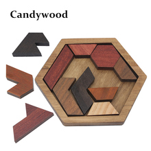 Kids Puzzles Wooden Toys Tangram/Jigsaw Board Wood Geometric Shape Puzzle Children Educational Toys(China)