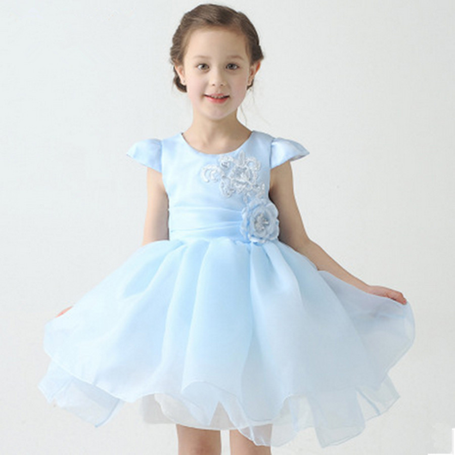 2-10T Children girls Tutu dress Big Bow O-neck Embroidered Flower Girl dresses white/water blue kids festival Princess costumes<br><br>Aliexpress