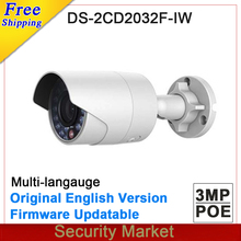 Original engish version DS-2CD2032F-IW 3MP IR Bullet Network CCTV IP mini bullet Camera Built-in Micro SD solt wifi wireless IPC