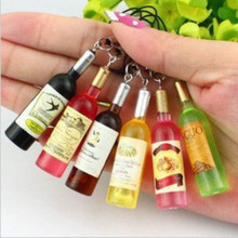 2017 Creative New Mini Red Wine Bottle Keyring Key Ring Keychain for mobile phone,Key Chain Women Car Accessories Christmas Gift