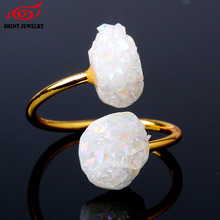Retro Style Gold Tone Ring for Women Men Open Style Korean Druzy Rings Adjustable Size 8 Quartz Drusy Druzy Natural Stone Rings