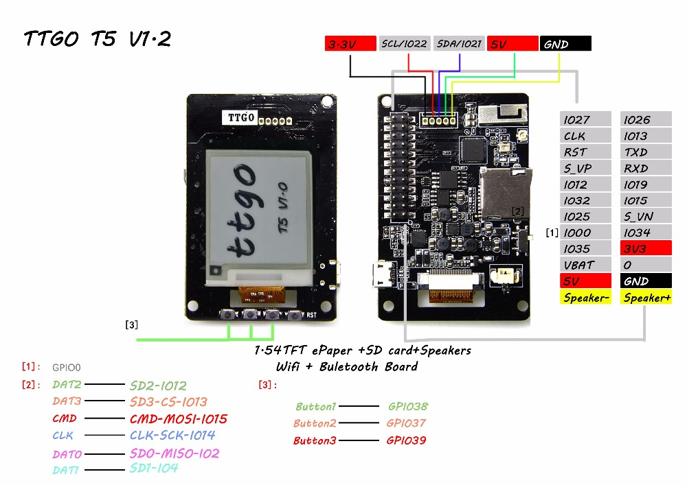 LILYGO® TTGO T5 V1.0 Wifi bluetooth Wireless Module ESP-32 ESP32 1.54 Inch RBW OLED ePaper Display Sperker Development Board