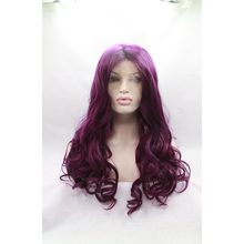 Fanshion purple silky Natural Wavy synthetic lace front wig heat resistant fiber long hair wigs