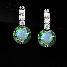 PATICO Elegant Wedding Engagment Woman Lady Stud Earring,Pure 925 Sterling Silver AAA CZ Zircon Crystal Jewelry Bridal