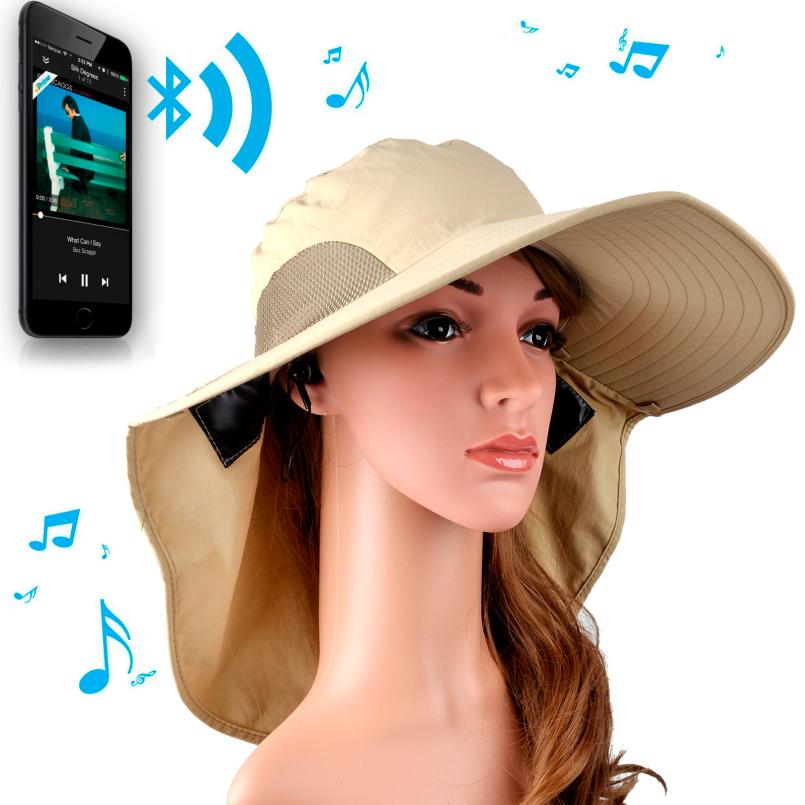 Adroit 2016 New Bluetooth Fashion Summer Beach Cap Foldable Built-in Stereo Earphone Hands-free Wide Brim Hat May12<br><br>Aliexpress