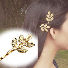 Sweet Olive leaf beautiful bride hairpin Hair Accessories  Lovely  Golden Metal Punk  Hair Clip High Quality 2 Pcs