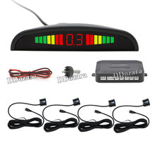 12V LED Car Parking Sensor Monitor Auto Reverse Backup Radar Detector System + LED Display + 4 Sensors + 7 Colors to Choose(China)