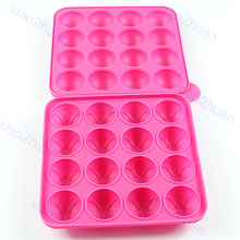 16Slots Mould +20Sticks Silicone Cake Chocolate Cookie Lollipop Pop Mold Mould Baking Tray Stick Party good quality