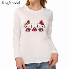 Fashion Women Funny Cat T Shirt Print Animal 3d T-shirt Casual Womens Cartoon Long Sleeve Kitty Shirt Fighting Cat Tee Shirts(China)
