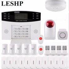 LESHP LCD Screen Display Infrared Sensor Wireless GSM Intelligent Voice Home Anti-Theft Alarm System House Security Guard Set(China)