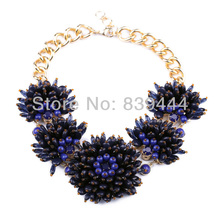 New Fashion Jewelry Antique Gold Color Purple Coral Reefs Necklaces Statement Necklace