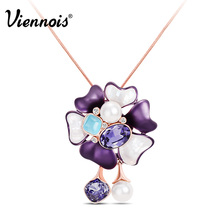 Viennois Rose Gold Color Flower Long Pendant Necklaces for Women Rhinestone Crystal Opal Stones Necklaces Movable Pendants