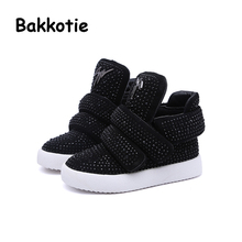 Bakkotie 2017 Winter Baby Girl Fashion Rhinestones Boots Child Ankle Booties Brown Kid Brand Toddler Black Leisure Shoe Sneaker(China)