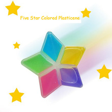5Pcs intelligent crystal colored plasticine silly putty plastic clay handgum slime toys 5 color and star shape packing