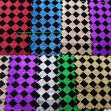 Printed Plaids on Fur Leather Synthetic Leather Fabric for shoes handbags sofa bows and DIY Accessoires Fabric P1439(China)