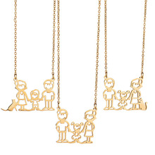 2017 Dad's Gift Gold Family Necklace Pendant Stainless Steel Daught Son Papa Mama Necklace Gold Animal Pet Boy Girl Necklace(China)