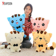 45cm Cute New style cat plush toys stuffed animals colorful big face cat doll kids pillow baby cushion pink/blue(China)