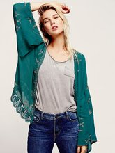Women outer wear Vintage Ethnic Flower Embroidery Deep V-neck Hippie Boho People Cotton Linen Tunic Short Loose Dresse