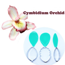 Cymbidium Orchid Petal Flower Cutter Cake Decorating Tools Fondant Mold Cattleya Orchid Petal Veiners Mould