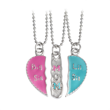"3pcs/set Engarved ""Big Sis MOM Little Sis"" Love Heart Pendant Necklace Simple Special Gift For Mother Daughter Family Jewelry"