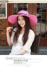 Summer Sun Hat 2016 Fashion Women Lady Straw Foldable Wide Large Brim Floppy Beach Visor Anti-UV Cap Headwear Wholesale