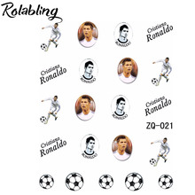 Rolabling Brazil Flag World Cup with Ronaldo water decals nail accessories Football Series water transfer nail sticker