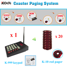 1 K-999 keypad + 20 guest pagers Guest paging system Restaurant wireless vibrating alphanumeric paging system coaster pager(China)