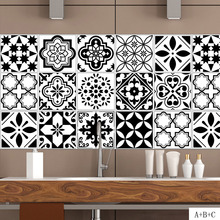 Black White Nordic Style Retro Tile Stickers PVC Bathroom Waterproof Wall Stickers Home Decor Self-adhesive Floor Sticker Poster(China)