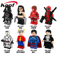 Single Sale Super Heroes Female Wolverine Laura Red Flash Deadpool Punisher Superman Building Blocks Children Gift Toys PG8063